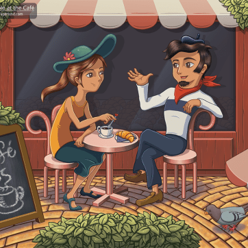 A Couple at the Café, digital painting