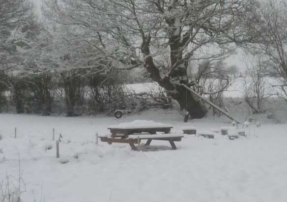 Hardwood picnic table covered in snow