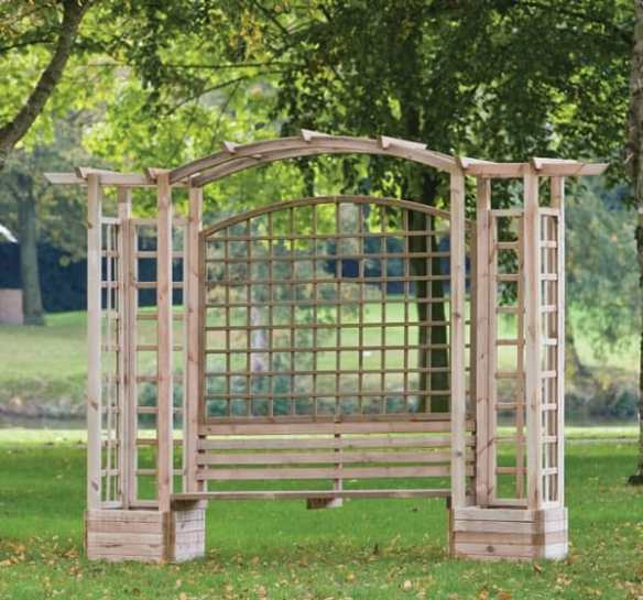 Trellis arbour with a garden bench flanked by two planters. Great value with 20% off.