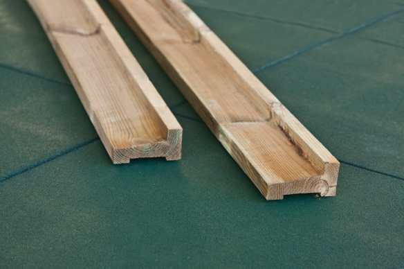 These beams are profiled to allow any water to be flushed away from the first log. Available in tanalised and hardwood