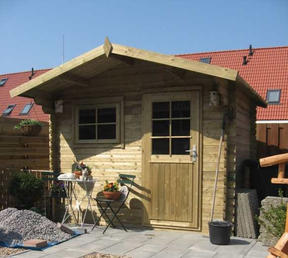 Green Pressure Treated Log Cabin