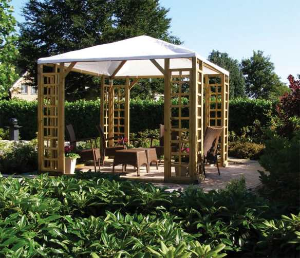 Pergola with a canvas / plastic roof