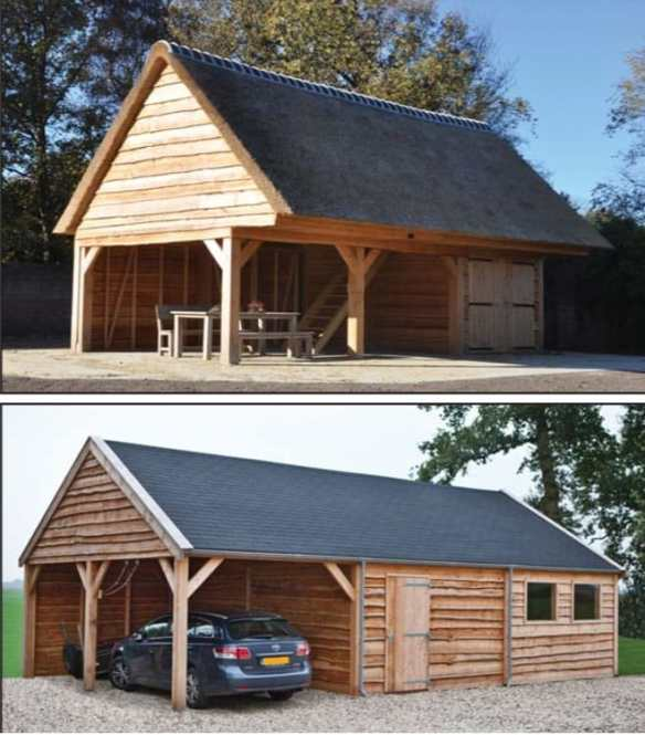 Larch timber clad garden buildings