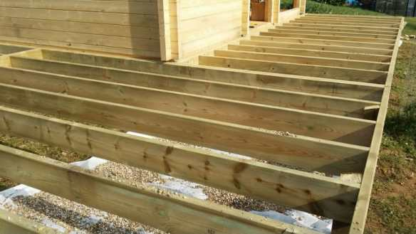 The Log cabin stilt base is being extended for a decking area around the cabin