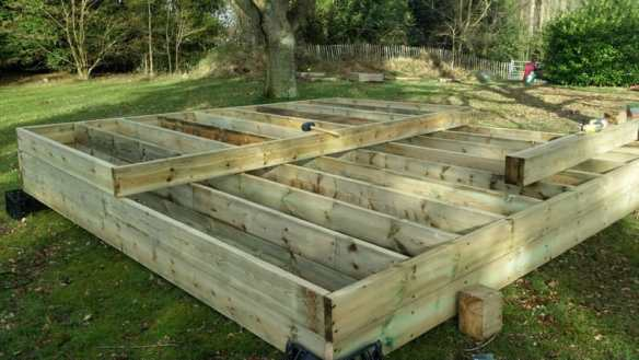Numerous sections of frames can be built before hand for the log cabin timber base