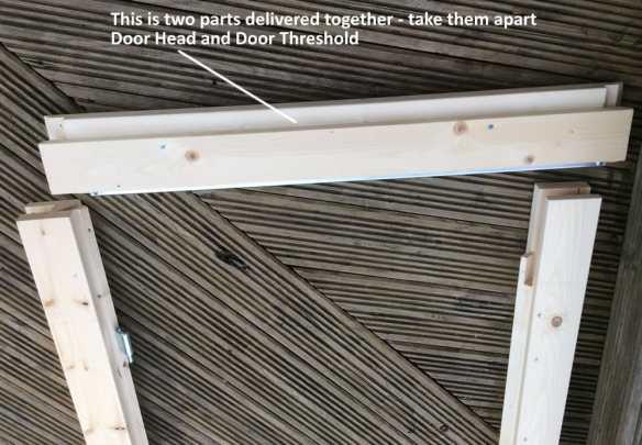 The door head and door threshold is often sent one inside the other