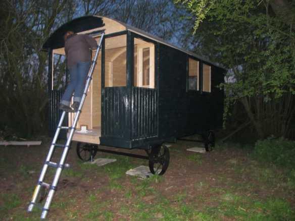 painting the shepherd hut