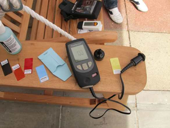 Two types of meters for establighing what is happening with timber, a moisture meter and a depth of covering meter.