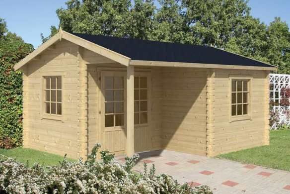 Johan log cabin in it's standard build in 34mm logs, a lovely building as it is and very practical.