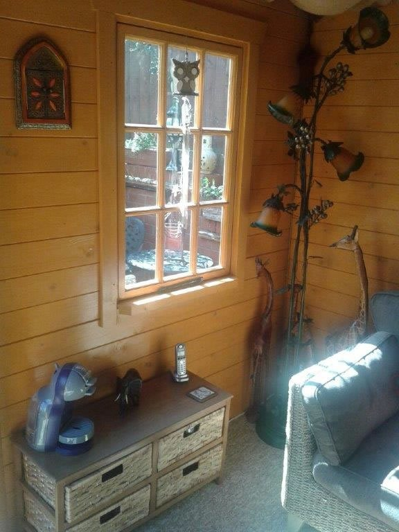 The inside of one of our Ingrid log cabin designed for a corner location.