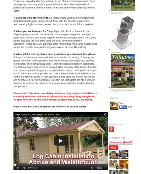 Log Cabin installation page - Please Click