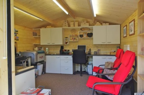 Our Stromstad log cabin being used for a therapy studio and office