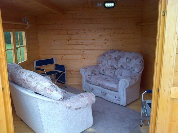 A nice sofa arrangement in one of our log cabins