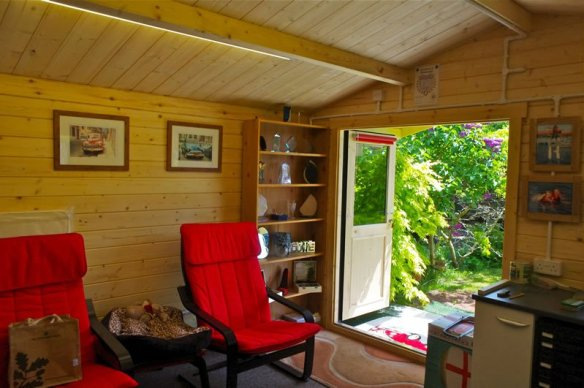 The Stromastand log cabin being used as a garden office