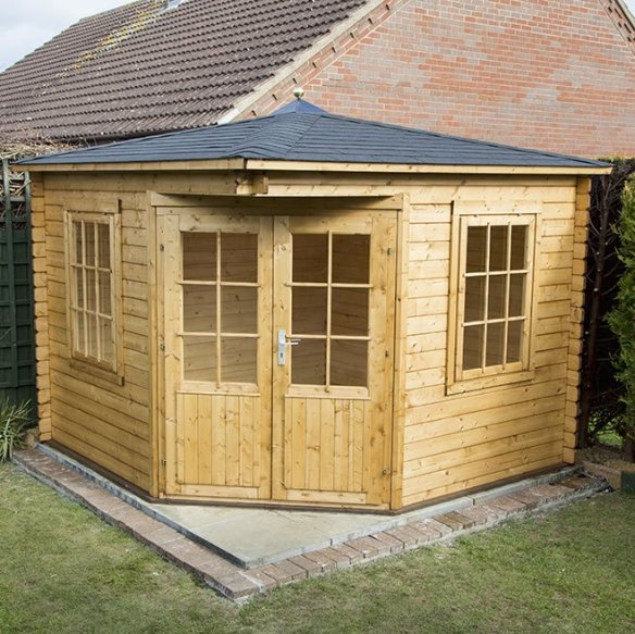 The Asmund corner log cabin, this is our best selling log cabin at the moment. We also have a 40mm double glazed version called the Emma.