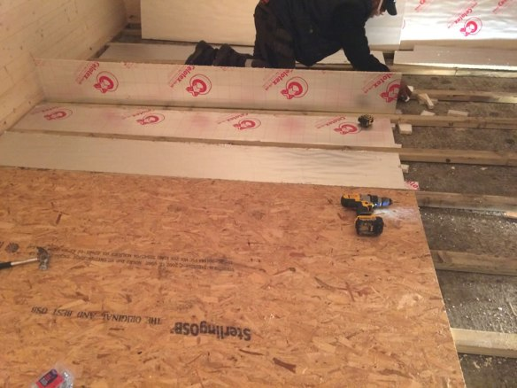 An alternative to our T&G timber floor, Philip is using OSB as a prelude to laminate flooring in our Wigan 58mm log cabin.
