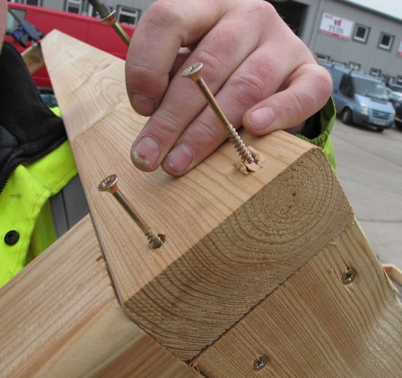 Screws into the posts through the ring beam.
