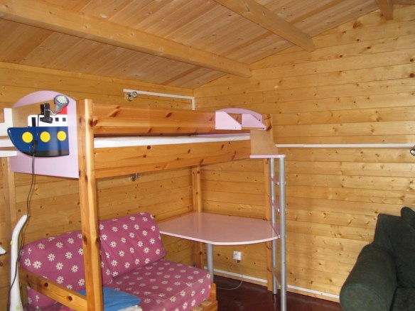 Looking the other side of the coventry log cabin was a set of bunkbeds for the children.