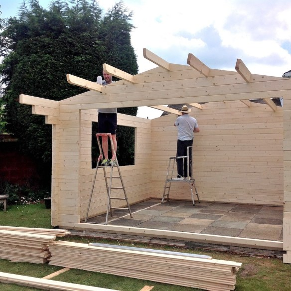 Once the purlins are in the roof then becomes stable and roof boards can be nailed on.