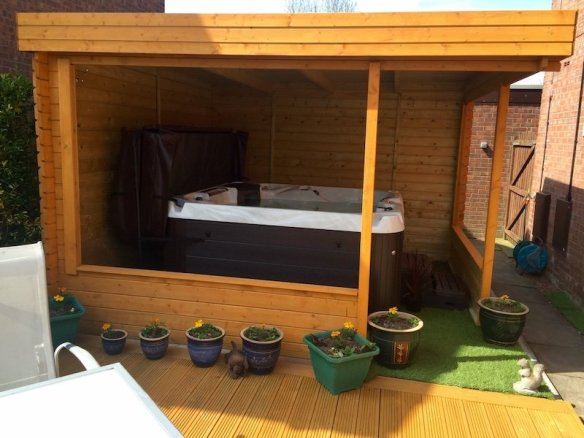 How about relaxing in a hot tub, the Barbara Log Cabin gazebo seems ideal for this.