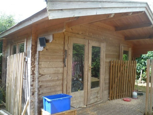 Completely untreated log cabin.