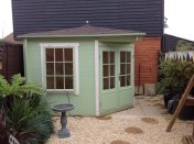 The Emma Log Cabin Painted Mint And White