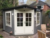 The Emma Log Cabin Painted Grey And White