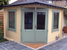 The Emma Log Cabin Painted Cream And Off Grey