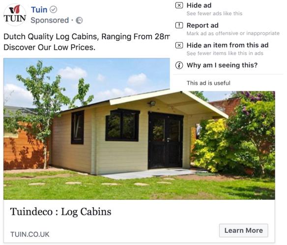 Tuin Facebook Advertisement Example