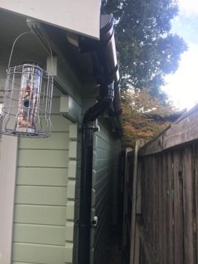 Guttering installed on the Ulrik Log Cabin