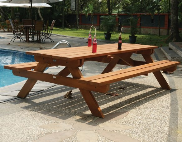 Hardwood large picnic table. Who doesn't need one of these, buy it now for next summer and finish of this one in style.