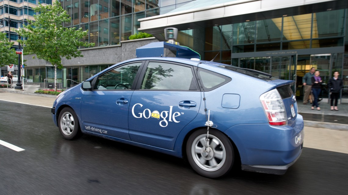 The Google self-driving car maneuvers through the streets of in Washington, DC May 14, 2012. The system on a modified Toyota Prius combines information gathered from Google Street View with artificial intelligence software that combines input from video cameras inside the car, a LIDAR sensor on top of the vehicle, radar sensors on the front of the vehicle and a position sensor attached to one of the rear wheels that helps locate the car's position on the map. As of 2010, Google has tested several vehicles equipped with the system, driving 1,609 kilometres (1,000 mi) without any human intervention, in addition to 225,308 kilometres (140,000 mi) with occasional human intervention. Google expects that the increased accuracy of its automated driving system could help reduce the number of traffic-related injuries and deaths, while using energy and space on roadways more efficiently.  AFP PHOTO/Karen BLEIER
