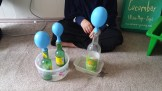 Balloons were blown up by bubbles of carbon dioxide.