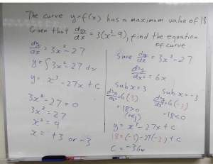 Additional math (amath) differentiation of gradient, fins the equation of curve by finding the gradient and y intercept