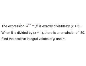 image: a-math - remainder and factor theorem - find integral values of n and p
