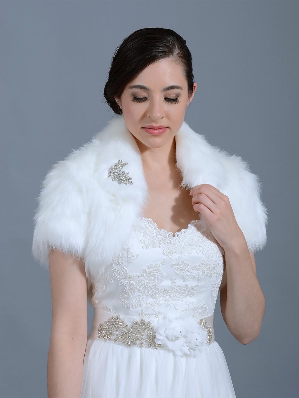 White Faux Fur Jacket Shrug Bolero Wrap FB003White
