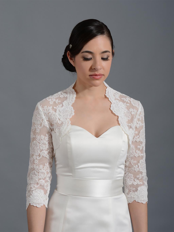 34 Sleeve Bridal Alencon Lace Bolero Jacket Lace074