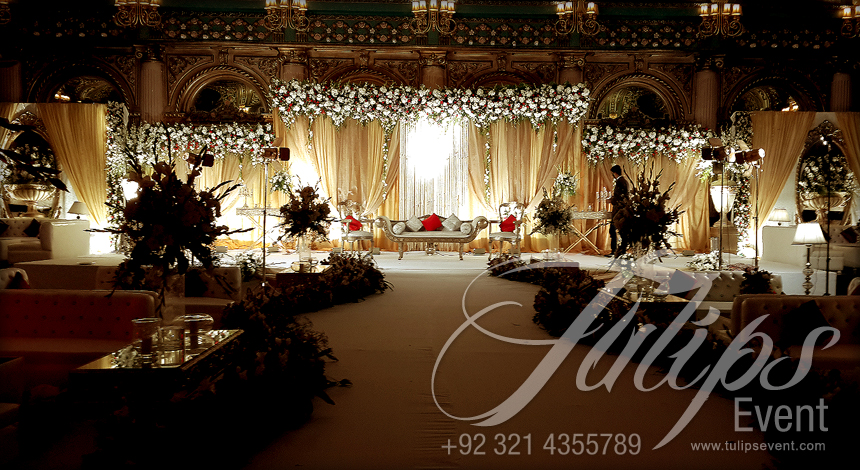 Grand Walima Stage decoration setup planner in Lahore Pakistan.