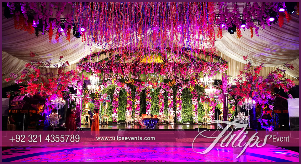 Enchanted Mehndi Stage Dance Floor Roof Decoration Ideas