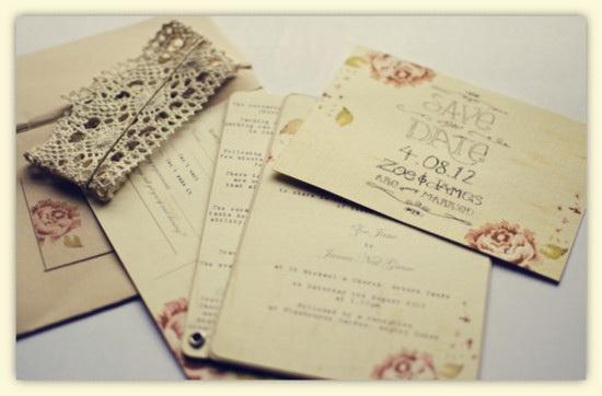Rose Laser Cut Wedding Invitations