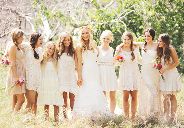 Nature Inspired Mix n Match Chic Lace Bridesmaid Dresses