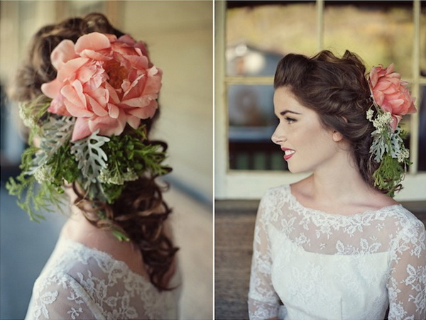 think outside the box unique vintage flower wedding hairpieces