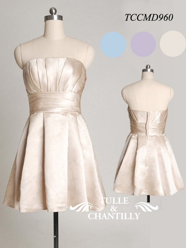 Real Wedding Champagne Strapless Short Bridesmaid Dress TCCMD960