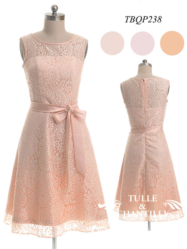 Vintage Sleeveless Illusion Neckline Lace Bridesmaid Dress With Belt TBQP238