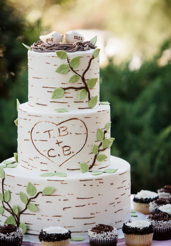 wedding cake ideas   Tulle   Chantilly Wedding Blog birch inspired wedding cake with bird cake toppers