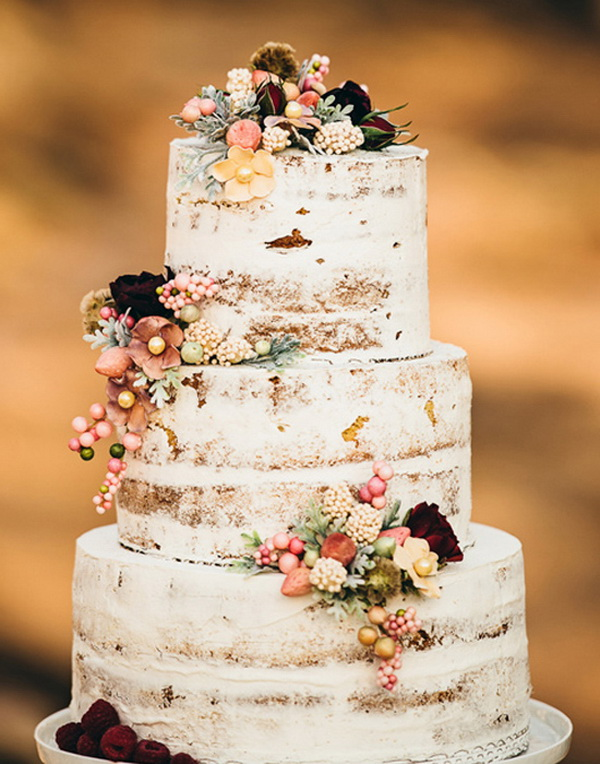 20 Rustic Wedding Cakes for Fall Wedding 2015   Tulle   Chantilly     floral semi naked rustic fall wedding cake