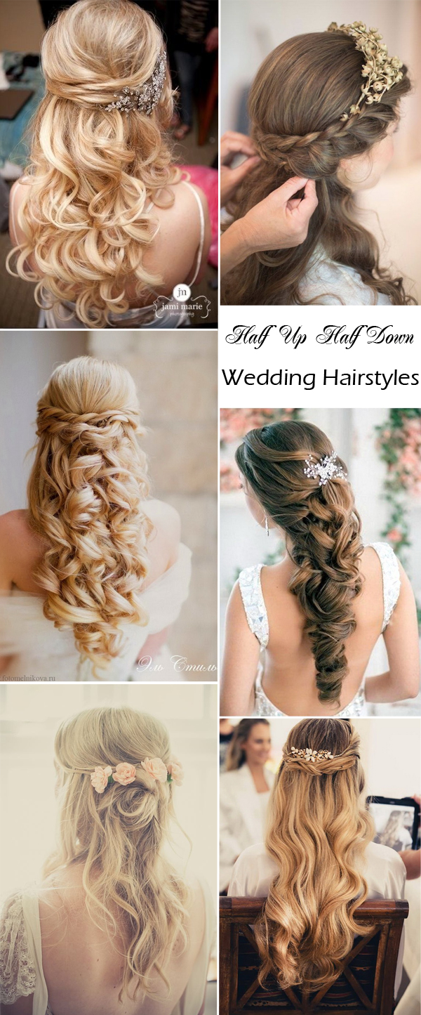 elegant wedding hairstyles: half up half down | tulle