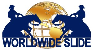 Worldwide Slide GOLD BLUE LOGO