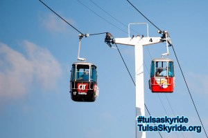 Tulsa Skyride 2007: two cabins are seen out on the rope in their new wraps.