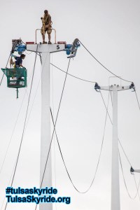 Tulsa Skyride: Doppelmayr technicians working on tower 5 during new control system installation.